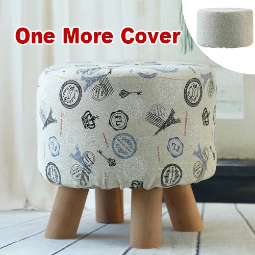 Sino Banyan Feet Stool with 1 More Cover,Soft Quick Detachable Cushion,Beige & Blue Tower Coastal Tower