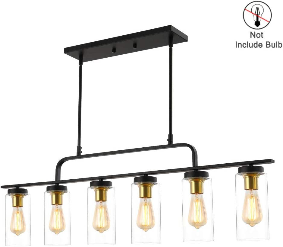 Amazon Com 6 Lights Kitchen Island Pendant Lighting Linear Pendant Celling Light Fixture With Free Swinging Arm Adjustable Hanging Height Industrial Pendant With Clear Glass E26 Socket For Dining Room Restaurant Home Improvement