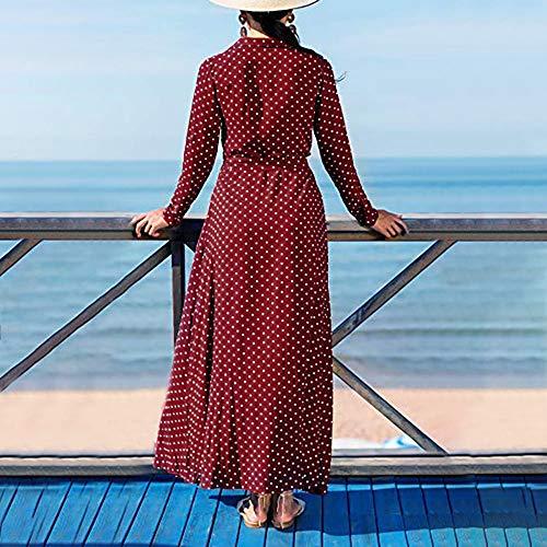 donna Casual Felpe Rawdah Vestito impero cerimonia Punto donna cappuccio vestito tasche Rosso Manica elegante lunga lungo Stampato da senza nbsp;Con Stile qz8Fq