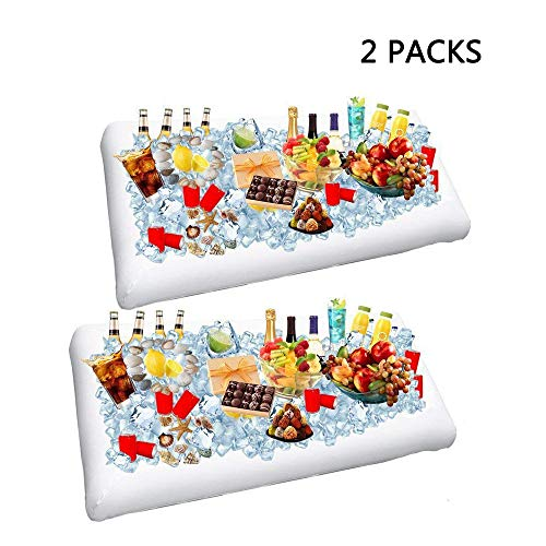 2 Pack Inflatable Salad Bar Buffet Ice Cooler Beverage Serving Bar Food Drink Holder for Party Picnic BBQ Luau with Drain Plug by Wisewife ()