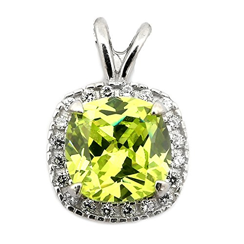 Sterling Silver Rhodium Plated Simulated Peridot CZ 8mm Cushion Cut Halo Pendant Necklace - pendant - Peridot Plated Sterling 8mm