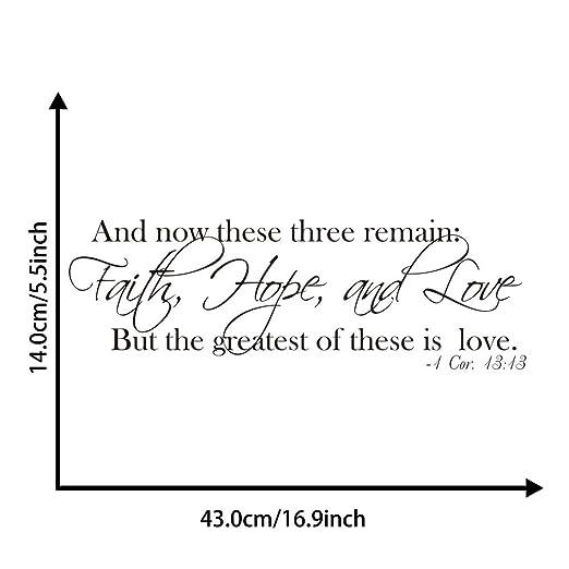 Vosarea Faith Hope Love 1 Cor 13:13 Diciendo Etiqueta de la Pared ...