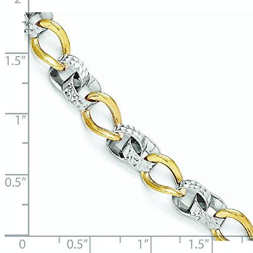10 k deux tons taille diamant poli Bracelet lien - 7,5 cm-supérieure Grade que Or Doré 9 carats