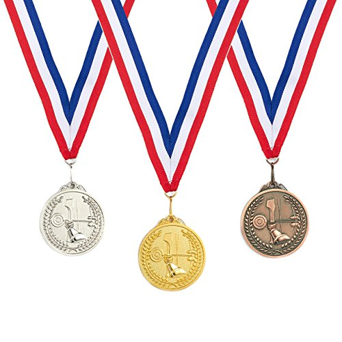 Juvale 3-Piece Award Medals Set - Metal Olympic Style Archery Gold, Silver, Bronze Medals for Sports, Games, Competitions, Party Favors, 2.5 Inches in Diameter with 32-Inch Ribbon