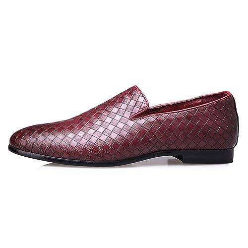 Hombres Zapatos de Cuero Tejer Mocasines Vestido de Slip en Zapatos Casuales Masculinos: Amazon.es: Zapatos y complementos
