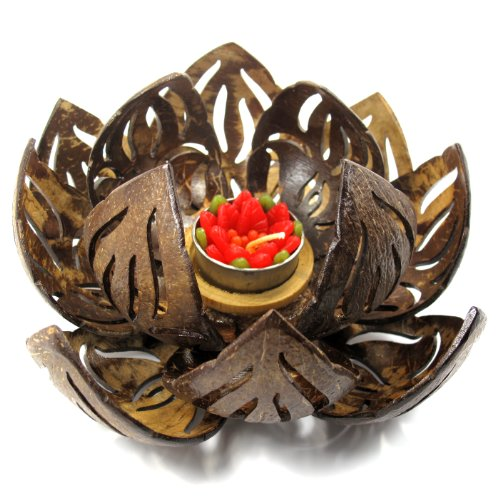 TropicaZona Coconut Shell Tealight (Tea Light) Candle Holder, Lotus Flower, Natural Color