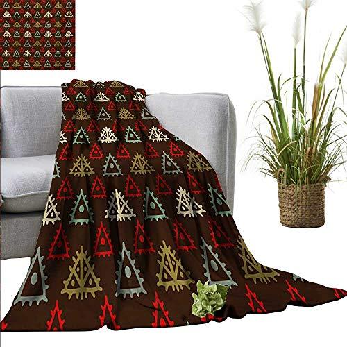 BelleAckerman Baby Blanket Ethnic,Native American Aztec Folk Triangle Pattern Folk Style Funky Boho Tribal Art Print,Multicolor Super Soft Light Weight Cozy Warm Plush Hypoallergenic Blanket 60