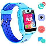 Kids Smart Watch Phone, GPS Tracker Smart Wrist Watch for 3-12 Year Old Boys Girls with SOS Camera Sim Card Slot Touch Screen Game Smartwatch Outdoor Activities Toys Childrens Day Gift (Blue-S6)