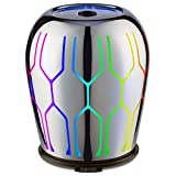 Odoga Aromatherapy Essential Oil Diffuser, 60 ml Glass Made Ultrasonic Whisper Quiet Cool Mist Humidifier with 7 Color Changing LED Lights & Low Water