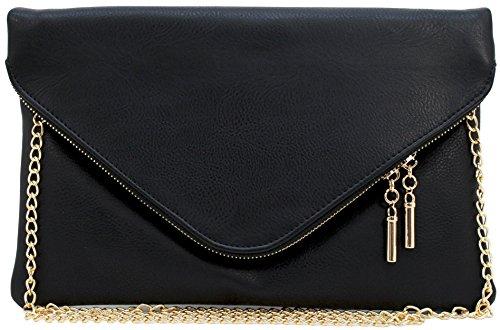 Vegan faux leather soft envelope shape clutch crossbody bag pouch (BLACK)
