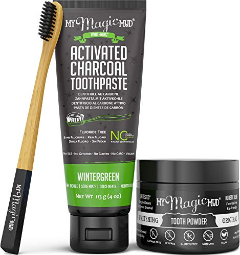 Kit Charcoal - My Magic Mud - Activated Charcoal Teeth Whitening Kit, Toothpaste, Tooth Powder & Bamboo Toothbrush, Clinically Proven, Wintergreen