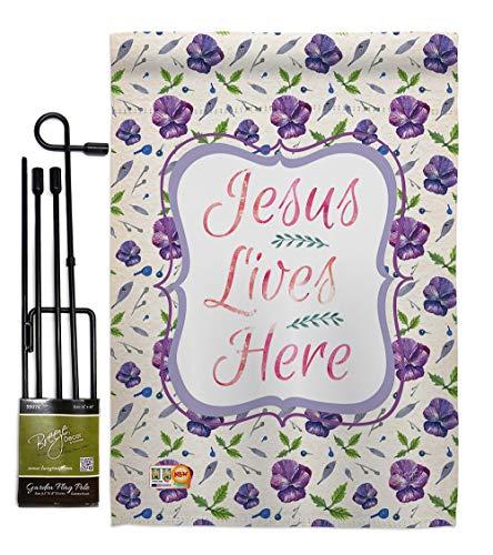 Breeze Decor GS103002-BO Jesus Lives Here Inspirational Faith & Religious Impressions Decorative Vertical 13