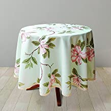Weiwo Decorative Floral Print Polyester Round Tablecloth Waterproof Fabric Lace Table cloth, Table cover For Dining Room and Party (70x70-Inch, Pale Mint Green)