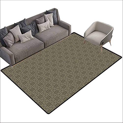Print Floor Mats Bedroom Carpet Damask,Retro Style Abstract Composition with Curvy Floral and Geometrical Elements,Chocolate Khaki 36