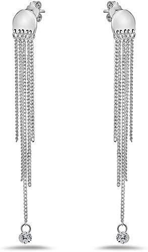 Lujo Elegante Mujer `S Plata de Ley 925 Cristal Oreja Dormilonas Joyería
