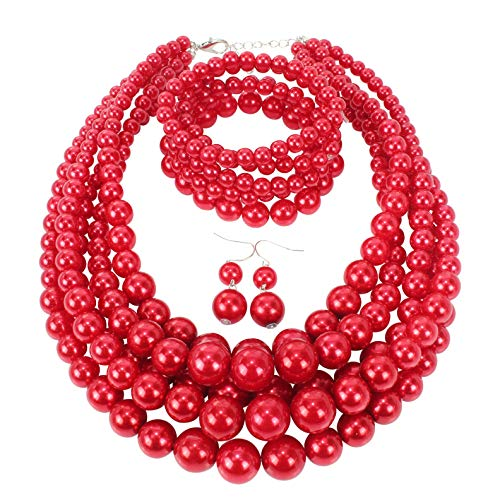 - HaHaGirl Red Faux Pearl Jewelry Sets for Women Include Necklace Bracelet and Earrings Set