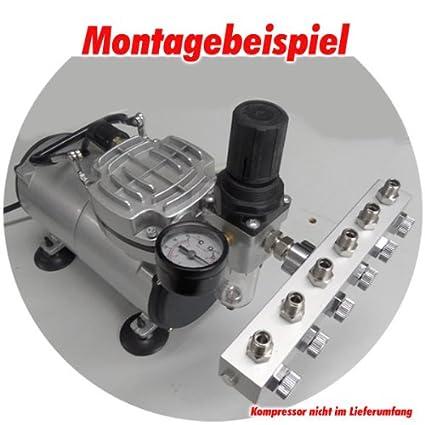 4-fach Agora-Tec /® A/érographe Air Comprim/é R/épartiteur 3/voies ou 4/voies ou 6/prises