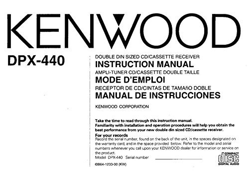 Kenwood DPX-440 Receiver Owners Instruction Manual Reprint [Plastic Comb] - Kenwood Receiver Manuals