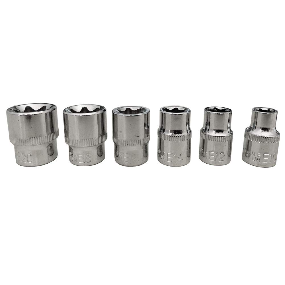 XT AUTO 6pcs E Torx Star Bit Female Socket Set Automotive Shop Tools 3//8 Inch Drive E10 E12 E14 E16 E18 E20