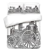 iPrint 3Pcs Duvet Cover Set,Steam Engine,Old Fireman Truck Drawing Effect Picture British Antique Transport Decorative,Charcoal Grey White,Best Bedding Gifts for Family/Friends