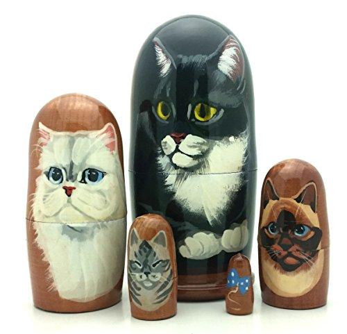 - Cat black white siamese gray Nesting dolls Russian Hand made 5 piece matryoshka 4