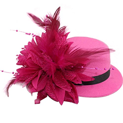Fancy Hat Pink Pin (BAOBAO Women Flower Mini Top Hat Fascinator Wedding Party Bridal Hair Clip Hairpin)