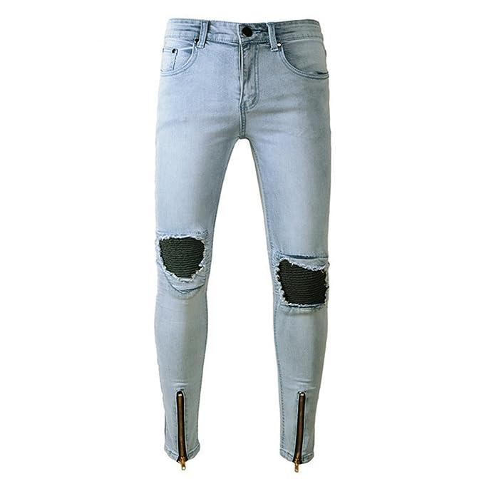 Yuanu Hombre Verano Lavado Rotos Pantalones Vaqueros ...