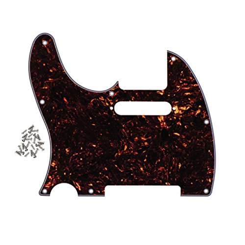 Tele Pickguard Standard (FLEOR 8 Holes Left handed Pickguard Front Scratch Plate for USA/Mexico Standard Fender Teles Style,4-Ply Brown Tortoise Shell)