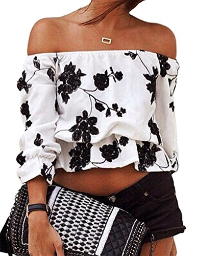 Uniquezone Sexy 3/4 Sleeve Off Shoulder Flower Casual Crop T Shirt Top M White/Black (Sexy Peasant Tops)