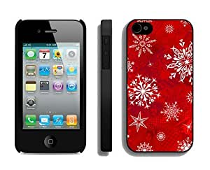 Customized Design Christmas Snowflake iPhone 4 4S Case 11 Black