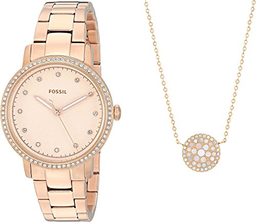 Fossil Neely Three-Hand Stainless Steel Watch and Jewelry Box Set (Rose Gold) from Fossil