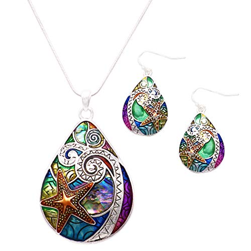 Rosemarie Collections Women's Statement Abalone Starfish Pendant Necklace and Earring Set ()
