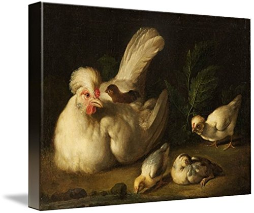 Wall Art Print entitled Jakob Samuel Beck, HEN WITH CHICKS by Celestial Images | 15 x 11 (Becks Chick)