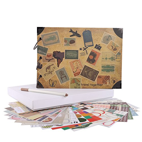FaCraft Travel Scrapbook Album 10.5x7.5'' Vintage DIY Vacation Photo Album by FaCraft