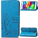 """Galaxy S5 mini(4.5"""")case,G800F/G800H/G800Y case,Bujing Blue Pattern Synthetic Leather+Soft TPU Printing Stand Card Slot Wallet Case Only For Samsung Galaxy S5 mini(4.5"""")(2014)"""