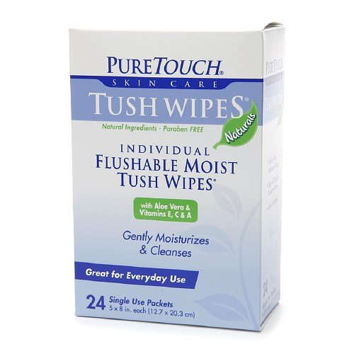 - PureTouch Naturals Flushable Moist Tush Wipes, 6 Boxes of 24 Single-Use-Packets