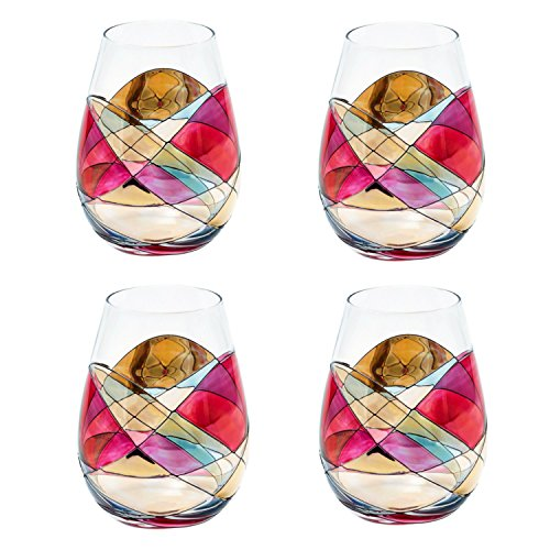 ANTONI BARCELONA Stemless Wine Glass – SET 4 – Unique Hand Painted Drinking Glasses, Drinkware Essentials, Wine Tumbler, Glassware Gifts Ideas for Women Review