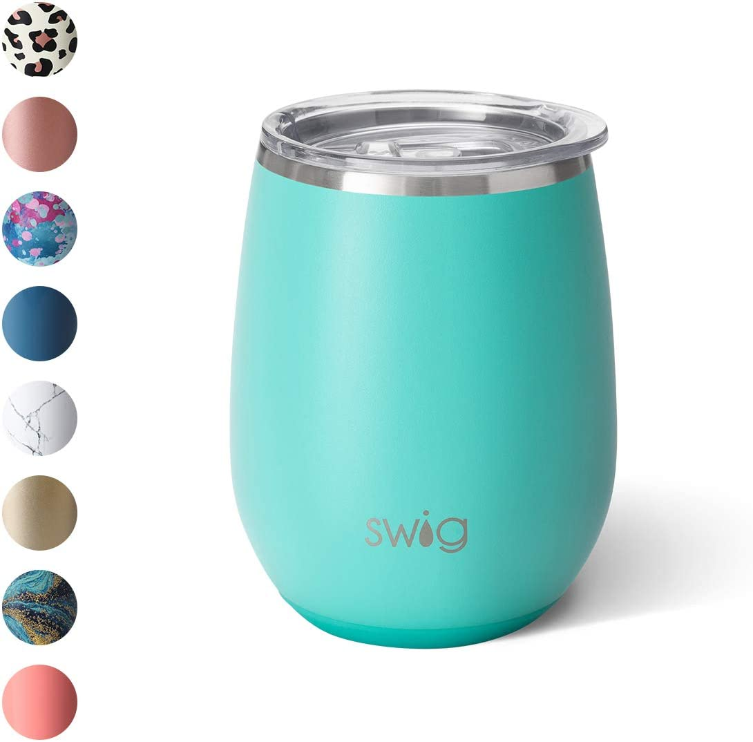 Swig Life 14oz Triple Insulated Stainless Steel Stemless Wine Tumbler with Slider Lid, Dishwasher Safe, Vacuum Insulated Travel Wine Glass in Matte Aqua Print (Multiple Patterns Available)