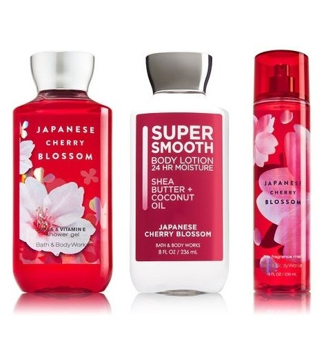 Bath & Body Works Japanese Cherry Blossom Set - Shower Gel 10 oz, Fragrance Mist 8 oz, Body Lotion 8 oz