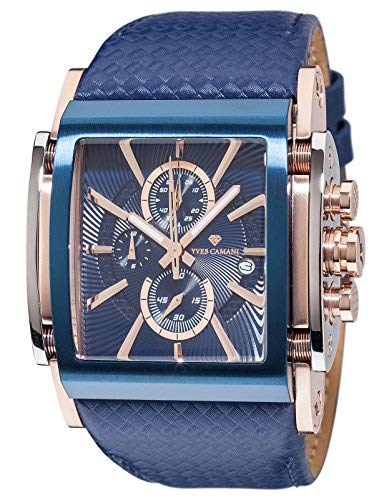YVES CAMANI ESCAUT Men's Wrist Watch Chronograph Analog Quartz Blue Leather Strap Blue Dial YC1060-I ()