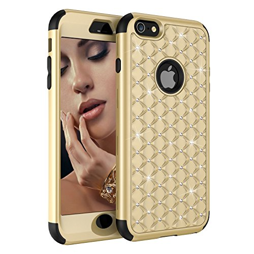 iPhone 6 Case, iPhone 6S Case, Ankoe Hybrid Heavy Duty Shockproof Diamond Studded Bling Rhinestone Case Hybrid Rubber Armor + Front Bumper iPhone 6/6s 4.7 inch (Gold/Black)