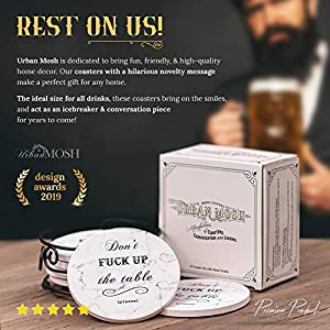 Coasters for Drinks | Absorbent Drink Coaster (6-Piece Set) | Housewarming Hostess Gifts for New Home, Man Cave House Warming Presents Decor, Wedding Registry, Living Room Decorations, Cool Gift Ideas