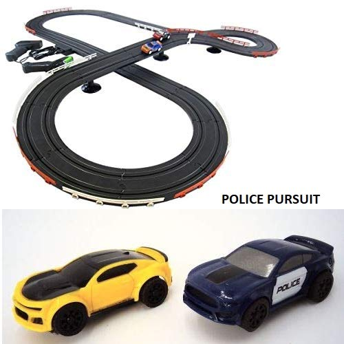 JJ_TOYS Police Pursuit Outlaw Chase Mustang Sports Slot Car Ho Scale Track Race Set from JJ_TOYS