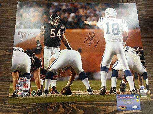 Peyton Manning & Brian Urlacher Dual Signed Autographed Colts Bears Super Bowl XLI 16x20 Photograph Urlacher Authentics Personal Player Hologram & Mounted Memories COA