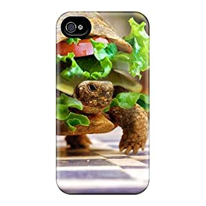 High Grade Jeffrehing Flexible Tpu Case For Iphone 4/4s - Sandwiches Turtles Creative