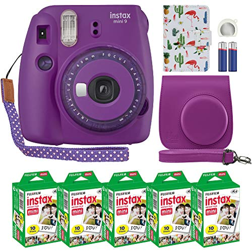 Fujifilm Instax Mini 9 Instant Camera Clear Purple with Clear Accents with Custom Case + Fuji Instax Film Value Pack (50 Sheets) Designer Photo Album for Fuji instax Mini 9 Photos