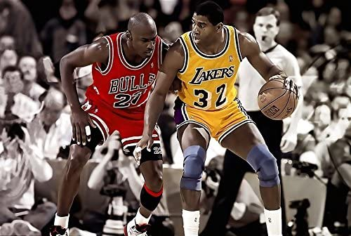 Chicago Bulls Michael Jordan & Lakers Magic Johnson Game Poster