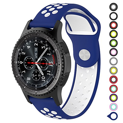 Gear S3 Bands,Meifox Soft Silicone Replacement Band for Samsung Gear S3 Frontier/Classic Smart Watch,Also for Huawei Watch 2 Classic Smartwatch(22mm) (Blue-white, Large)