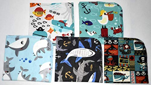 Pirates Adventure Printed Flannel Paperless Towels 1 Ply 12x12 Inches Set of 5
