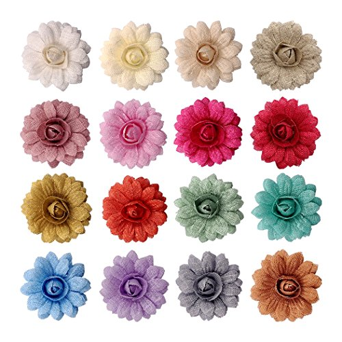 Embellishments Scrapbooking Fabric (16ct Burlap Fabric Flowers Applique Assort Colors - Handmade Fabric Flowers Embellishments for for Crafts Sewing Headbands Brooch Wedding Clothing Dresses Gift Wrapping Decorations HGT176302)